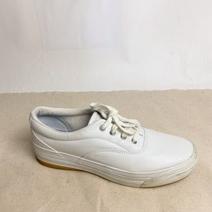 KEDS Stretch Faux Leather Platform Sneaker White